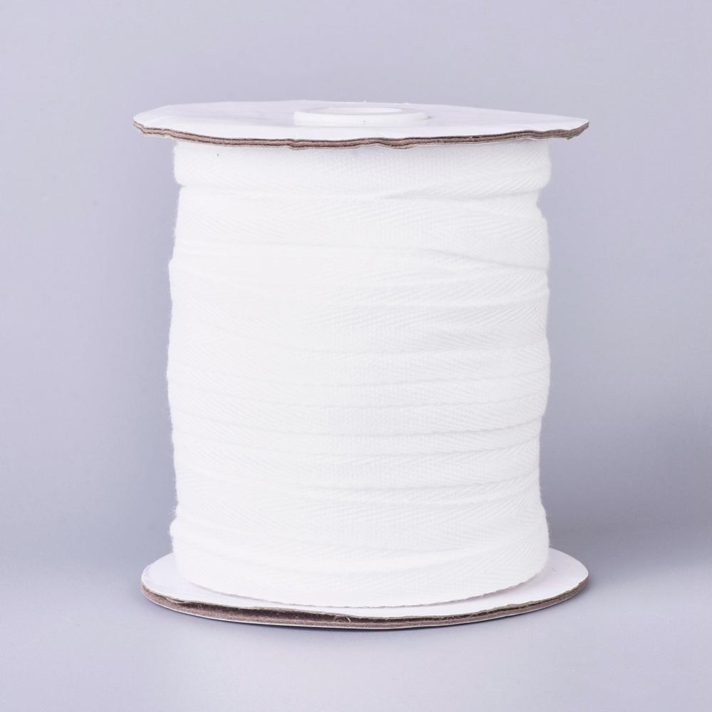 Декоративная репсовая лента, хлопок, белый, 10 мм, 90 см