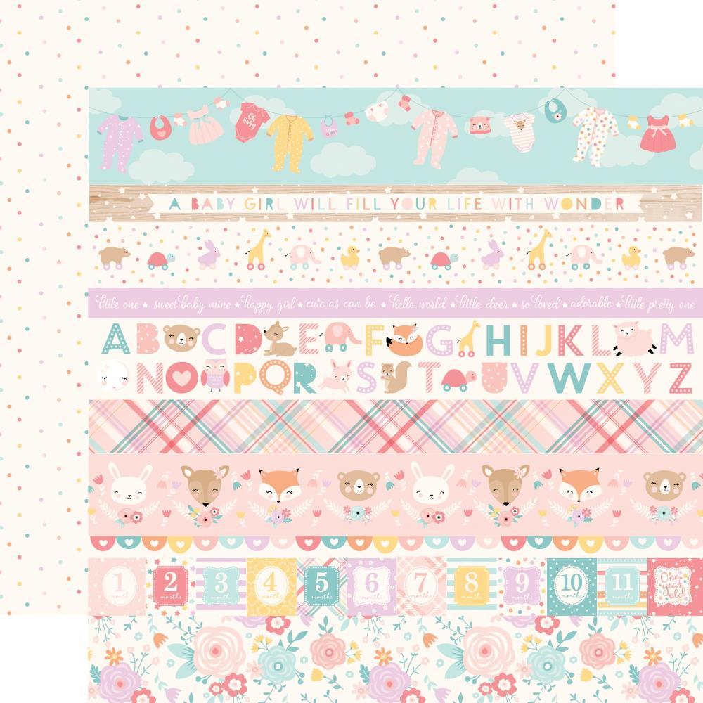 Двусторонняя бумага Border Strips - Hello Baby Girl 30х30 см Echo Park