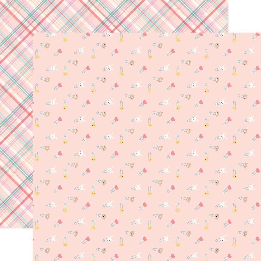 Двусторонняя бумага Girl Diaper Pins - Hello Baby Girl 30х30 см Echo Park