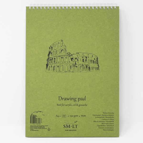 Альбом для акрила и масла на спирали, Authentic Drawing, А4, 290г/м2, 20л, белая бумага, Smiltainis