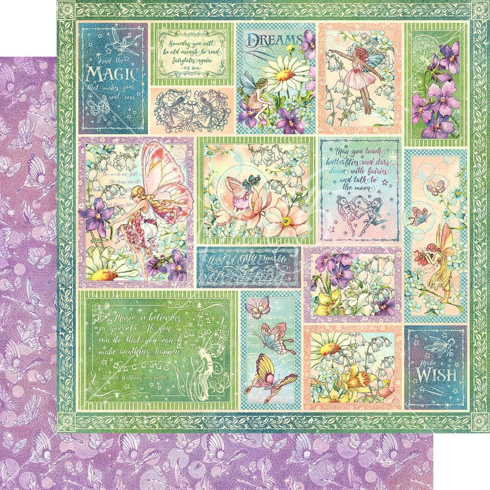 Двусторонняя скрапбумага Butterfly Whimsy - Fairie Wings, 30x30см, Graphic 45