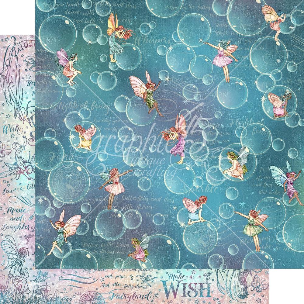 Двусторонняя скрапбумага Blowing Bubbles - Fairie Wings, 30x30см, Graphic 45