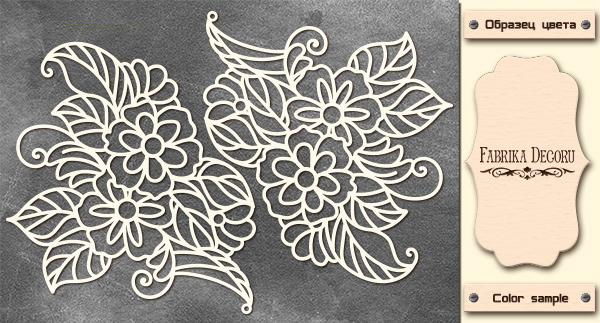 Набор чипбордов Цветочный орнамент 10х15 см #545 , цвет молочный, Фабрика Декора