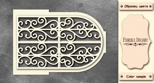 3D-чипборд дверь с завитками 10х15 см #577, Фабрика Декора