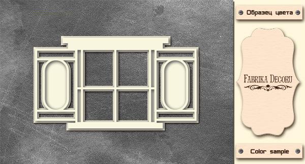 3D-чипборд окно со ставнями 10х15 см #578