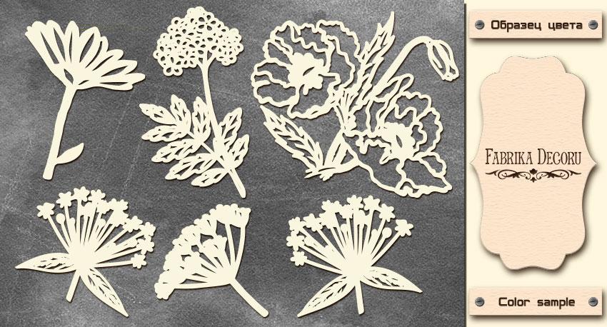 Набор чипбордов, Летние цветы, 10х15см #605, Фабрика Декора