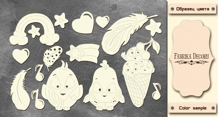 Набор чипбордов, Rainbow, Cutie sparrow, 10х15см #612, Фабрика Декора