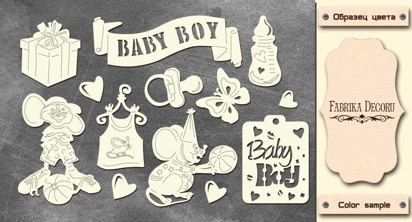Набор чипбордов, Baby Boy, My little mousy boy, 10х15см #618, Фабрика Декора