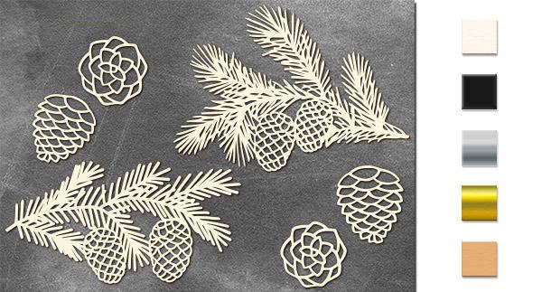 Набор чипбордов,ов Веточки с шишками 10х15 см #621, молочный, Фабрика Декора