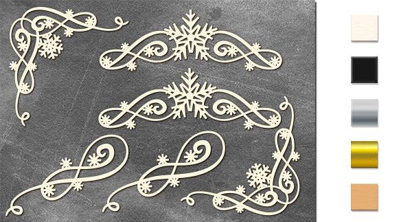 Набор чипбордов Вензель со снежинкой 10х15 см #630, молочный, Фабрика Декора