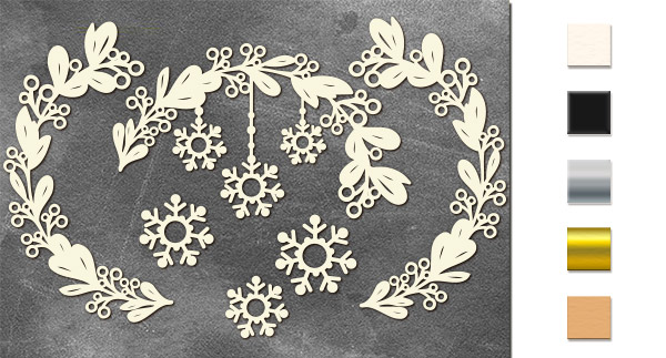 Набор чипбордов Веточки со снежинками 10х15 см #631, молочный, Фабрика Декора