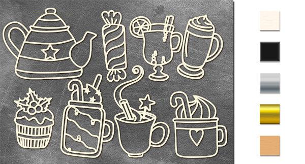 Набор чипбордов Праздничное чаепитие 10х15 см #634, молочный, Фабрика Декора
