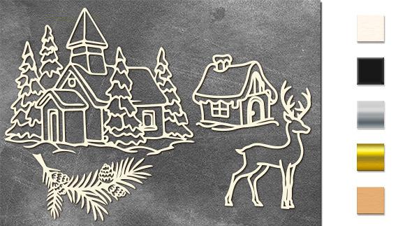 Набор чипбордов,ов Рождественский пейзаж 10х15 см #636, молочный, Фабрика Декора