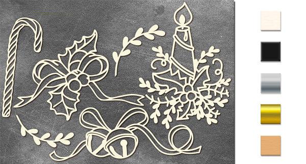 Набор чипбордов,ов Рождественская композиция 10х15 см #638, молочный, Фабрика Декора