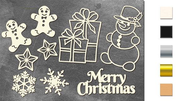 Набор чипбордов Рождественский набор 10х15 см #640, молочный, Фабрика Декора