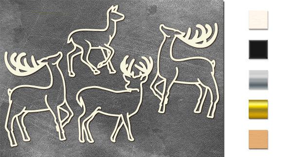 Набор чипбордов Олени #2 10х15 см #641, молочный, Фабрика Декора