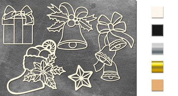 Набор чипбордов Рождественский набор #2 10х15 см #643, молочный, Фабрика Декора
