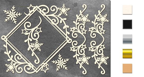 Набор чипбордов Ромб и завитки со снежинками 10х15 см #645, молочный, Фабрика Декора