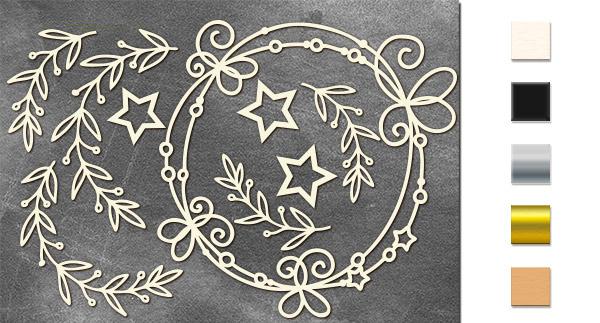 Набор чипбордов,ов Рамочки с омелой и звездочками 10х15 см #649, молочный, Фабрика Декора