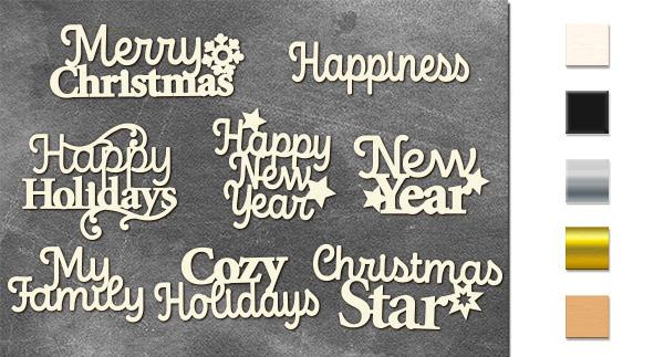 Набор чипбордов Зимние праздничные надписи 10х15 см #652, молочный, Фабрика Декора