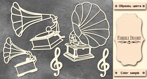 Набор чипбордов, Граммофон #667, 10х15 см, 1,3мм, Фабрика Декора