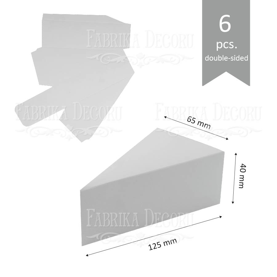 Набор картонных заготовок, Бонбоньерка чизкейк, 125х65х40 мм, белый, 6шт, Фабрика Декора