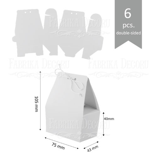 Набор картонных заготовок, Бонбоньерка сумочка, 105х75х43мм, белый, 6шт, Фабрика Декора