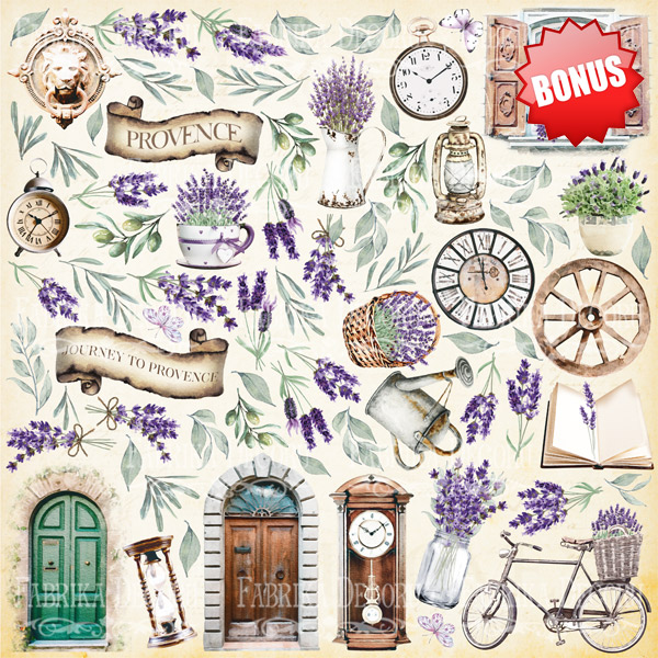 Набор скрапбумаги Journey to Provence 30,5x30,5 см 10 листов, Фабрика Декору
