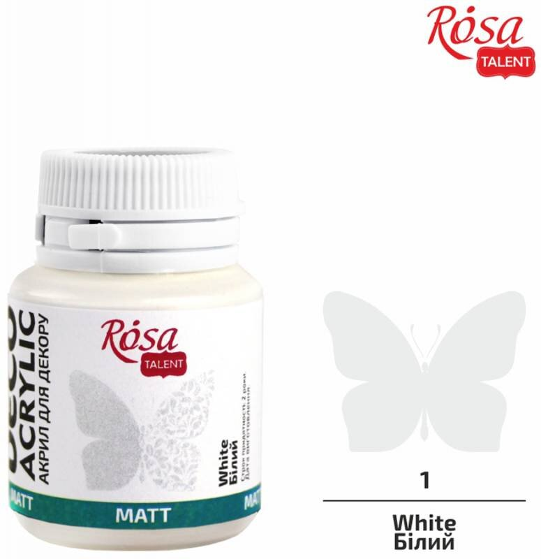 Акрил для декора, Белый, матовый, 20 мл, ROSA TALENT