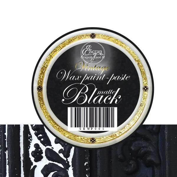 Восковая краска-паста Black Matte, 10 мл, ScrapEgo